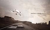 드론, 이륙, 착륙, 백그라운드, 비행장 (콩코스), 길, 첨단기술 (기술)