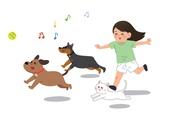 반려동물, 반려동물 (길든동물), 달리기 (물리적활동), 애완견 (개), 소유자 (직업), 음표, 고양이 (고양잇과)