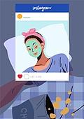 소셜미디어마케팅 (디지털마케팅), 인스타그램 (SNS), 인증 (컨셉), 스킨케어 (뷰티), 얼굴팩 (화장품), 침대, 여성 (성별), 허영심 (컨셉)