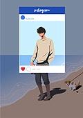 소셜미디어마케팅 (디지털마케팅), 인스타그램 (SNS), 인증 (컨셉), 남성 (성별), 허영심 (컨셉), 바다, 해변
