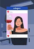 소셜미디어마케팅 (디지털마케팅), 인스타그램 (SNS), 인증 (컨셉), 허영심 (컨셉), 와인, 주방 (건설물), 여성 (성별)