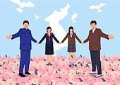 평화, 남북통일, 한반도지형 (한국지명), 한국전쟁 (Historical War Event), 무궁화, 손잡기, 대한민국 (한국), 북한 (한국), 학생, 교복