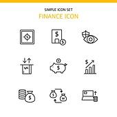 아이콘세트 (아이콘), 라인아이콘, 금융, 은행 (금융빌딩), 저축, 화폐, 그래프