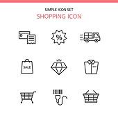 아이콘세트 (아이콘), 라인아이콘, 쇼핑 (상업활동), 상업이벤트 (사건), 쇼핑카트 (소매업장비), 장바구니, 배달 (일)