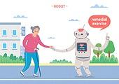 일러스트, 로봇, 인공지능, 간병인 (의료계종사자), 요양원, 실버라이프 (주제)