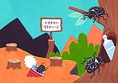 동물, 일러스트, 멸종, 멸종위기동물, 멸종위기동물 (동식물), 풍뎅이, 곤충, 환경오염