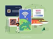 경제, 공유 (컨셉), 일러스트, 비즈니스, 인터넷, 인터넷 (기술), 와이파이, 5G