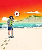 혼자여행 (여행), 일러스트, 배낭여행자 (여행하기), 여행자 (역할), 휴가 (주제), 회복 (컨셉), 휴식 (정지활동), 휴식