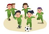 교육 (주제), 가르치는 (움직이는활동), 교과목 (사건), 일러스트, 체육교육 (교과목), 운동수업 (운동), 축구