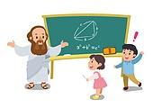 교육 (주제), 가르치는 (움직이는활동), 교과목 (사건), 일러스트, 수학, 방정식 (수학), 수업중 (교육)