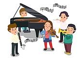 교육 (주제), 가르치는 (움직이는활동), 교과목 (사건), 일러스트, 음악, 음악밴드, 음악수업