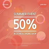 상업이벤트 (사건), 세일 (사건), 쇼핑 (상업활동), 패턴, 기하학모양 (도형), 타이포그래피 (문자), 여름