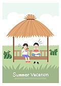어린이 (인간의나이), 방학, 여름방학, 여름, 남자아기 (남성), 소녀 (여성), 오두막 (건설물), 수박, 과일