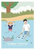 어린이 (인간의나이), 방학, 여름방학, 여름, 남자아기 (남성), 시냇물 (유수), 강, 낚시 (아웃도어), 부모