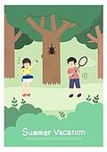 어린이 (인간의나이), 방학, 여름방학, 여름, 남자아기 (남성), 나무, 숲, 곤충, 곤충채집, 소녀 (여성)