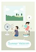 어린이 (인간의나이), 방학, 여름방학, 여름, 남자아기 (남성), 소녀 (여성), 선풍기, 창문, 뜨거움 (컨셉)