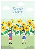 어린이 (인간의나이), 방학, 여름방학, 여름, 남자아기 (남성), 소녀 (여성), 해바라기, 꽃