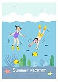 어린이 (인간의나이), 방학, 여름방학, 여름, 남자아기 (남성), 소녀 (여성), 스노클링 (레크리에이션), 바다, 수영 (수상스포츠), 어류 (척추동물)