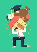 사람, 화이트칼라 (전문직), 급여 (고용문제), 주택소유 (부동산), 집, 무거움, 학사모, 빚