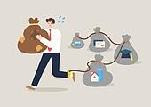 사람, 화이트칼라 (전문직), 급여 (고용문제), 주택소유 (부동산), 빚, 학사모, 발사슬 (자유제한도구)