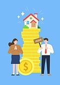 사람, 화이트칼라 (전문직), 급여 (고용문제), 주택소유 (부동산), 금화, 집, 비즈니스맨, 부부