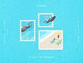 추억, 프레임, 우표, 여름, 계절
