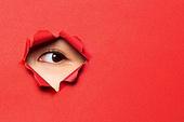 여성 (성별), 숨기 (움직이는활동), 응시 (감각사용), 숨기, 엿보기 (응시), 곁눈질 (멀리보기), 노려보기 (응시), 응시, 사람눈 (주요신체부분)