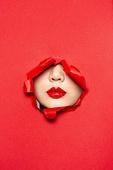 여성 (성별), 찢기, 찢어짐, 숨기 (움직이는활동), 구속 (컨셉), 숨기, 사람입술 (사람입), 사람입 (주요신체부분), 립스틱, 빨강 (색상), 얼굴표정 (커뮤니케이션컨셉)