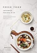 음식, 탑앵글, 포스터, 메뉴, 일본음식 (아시아음식)