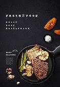음식, 탑앵글, 포스터, 메뉴, 서양음식 (음식), 스테이크 (육류)