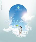 그래픽이미지, 날씨, 환경, 환경보호 (환경), 하늘, 대기오염 (공해), 구름, 맑은하늘 (하늘), 프레임, 도형, 어린이 (인간의나이), 소녀