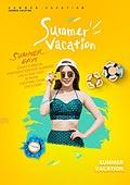 그래픽이미지, 이벤트페이지, 여행, 여름, 휴가 (주제), 기하학모양 (도형), 패턴, 한국인, 여성, 비키니