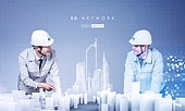 비즈니스, 건설업 (산업), 건설근로자, 신기술, 5G, 연결 (컨셉), 컴퓨터네트워크 (컴퓨터장비), 홀로그램, 기술