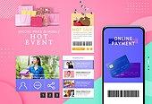 웹템플릿, 홈페이지, 메인페이지 (이미지), 이벤트페이지, 상업이벤트 (사건), 쇼핑 (상업활동), 세일 (사건), 휴가 (주제), 구매, 여성, 스마트폰, 모바일결제 (금융아이템), 레트로스타일