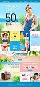 웹템플릿, 홈페이지, 메인페이지 (이미지), 이벤트페이지, 상업이벤트 (사건), 쇼핑 (상업활동), 세일 (사건), 휴가 (주제), 여성, 비키니, 해변, 바디라인 (날씬함)