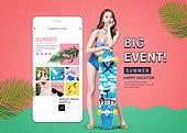 웹템플릿, 홈페이지, 메인페이지 (이미지), 이벤트페이지, 상업이벤트 (사건), 쇼핑 (상업활동), 세일 (사건), 휴가 (주제), 여성, 비키니, 휴대폰 (전화기), 모바일결제 (금융아이템)