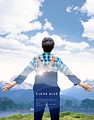 그래픽이미지, 편집디자인, 포스터, 풍경 (컨셉), 자연 (주제), 하이킹 (아웃도어), 배낭, 휴가, 휴가 (주제), 여름, 남성, 뒷모습