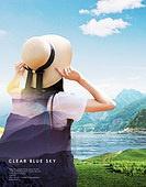 그래픽이미지, 편집디자인, 포스터, 풍경 (컨셉), 자연 (주제), 하이킹 (아웃도어), 배낭, 휴가, 휴가 (주제), 여름, 여성, 뒷모습