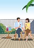 휴가 (주제), 한달살기, 휴양 (컨셉), 해외 (지리적인장소), 라이프스타일, 부부, 신혼부부, 커플, 와인, 야자나무 (열대나무)