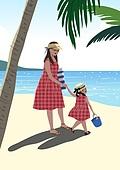 휴가 (주제), 한달살기, 휴양 (컨셉), 해외 (지리적인장소), 라이프스타일, 아기 (인간의나이), 엄마, 야자나무 (열대나무), 해변, 여행