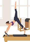 생활체육, 운동, 레저활동 (주제), 취미, 필라테스 (이완운동), 필라테스머신 (운동기구), 여성 (성별)