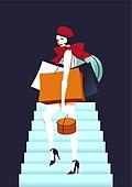 쇼핑 (상업활동), 상업이벤트 (사건), 여성 (성별), 뷰티, 평면 (물체묘사), 컬러풀, 싱글라이프 (주제), 쇼핑백, 계단