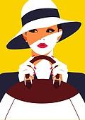 쇼핑 (상업활동), 상업이벤트 (사건), 여성 (성별), 뷰티, 평면 (물체묘사), 컬러풀, 싱글라이프 (주제), 모자, 핸드백