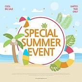 여름, 상업이벤트 (사건), 연례행사 (사건), 세일 (사건), 팝업, 타이포그래피 (문자), 야자나무 (열대나무)