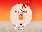 여름, 차가운음료 (무알콜음료), 원형 (이차원모양), 프레임, 칵테일