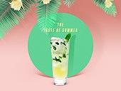 여름, 차가운음료 (무알콜음료), 원형 (이차원모양), 프레임, 모히토 (칵테일)