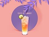 여름, 차가운음료 (무알콜음료), 원형 (이차원모양), 프레임, 에이드 (차가운음료)