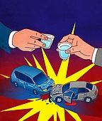 음주운전 (사회이슈), 음주측정 (체포), 음주운전, 자동차, 충돌 (향해가는동작), 충격 (컨셉), 소주잔, 소주 (증류주), 건배, 교통사고