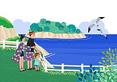 가족, 여행, 여름, 휴가, 풍경 (컨셉), 바다, 가로장 (경계선)