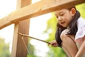 한국인, 어린이 (인간의나이), 낚시 (아웃도어), 여름방학, 소녀